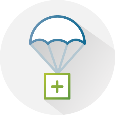 Illustration of an assistance parachute