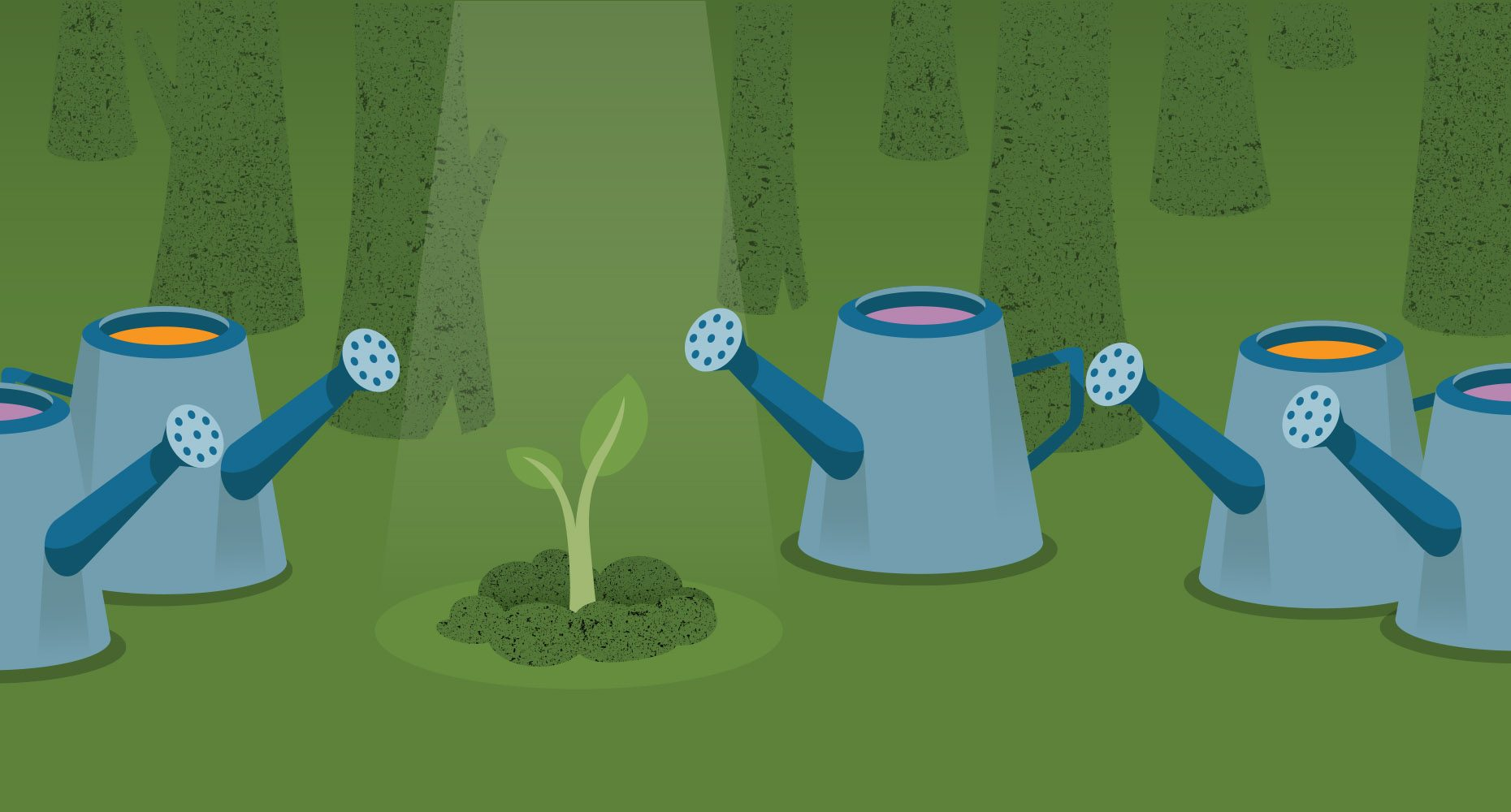 Illustration of plant and watering cans to represent ways to make your donation accomplish more